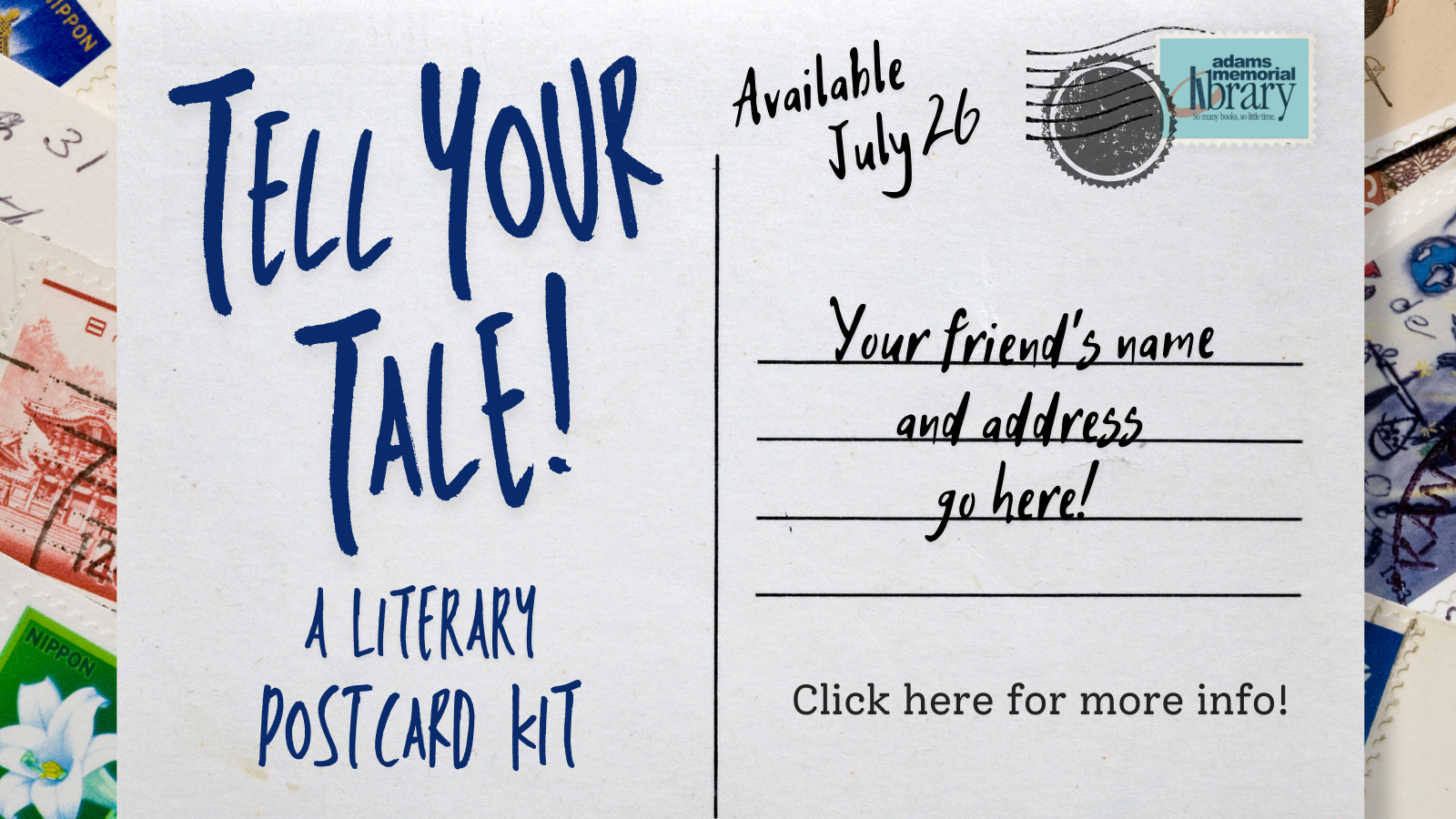 Tell Your Tale Postcard Kit available July 26!